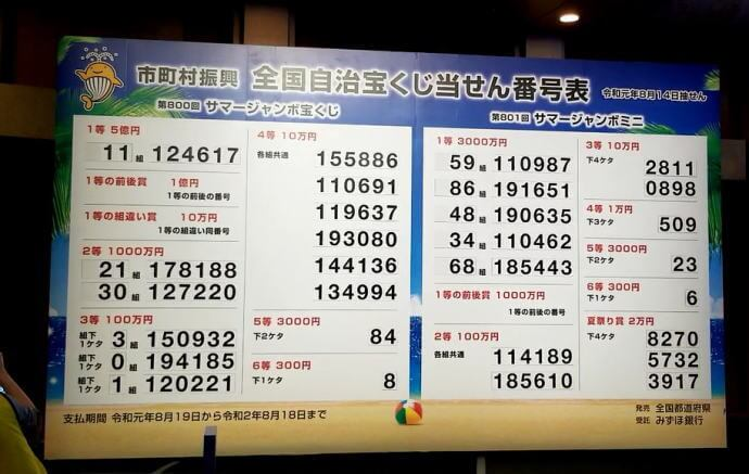 令和1発目のサマージャンボ宝くじ&ミニ・当選番号